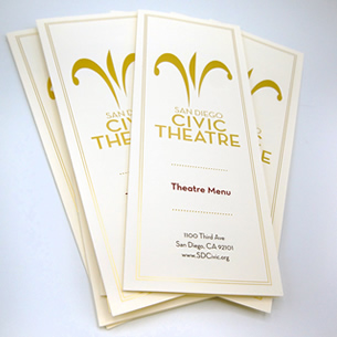 SD Civic Theatre Printed Menus